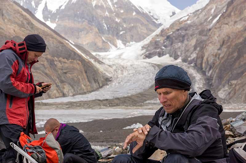 Guiding on a mountain