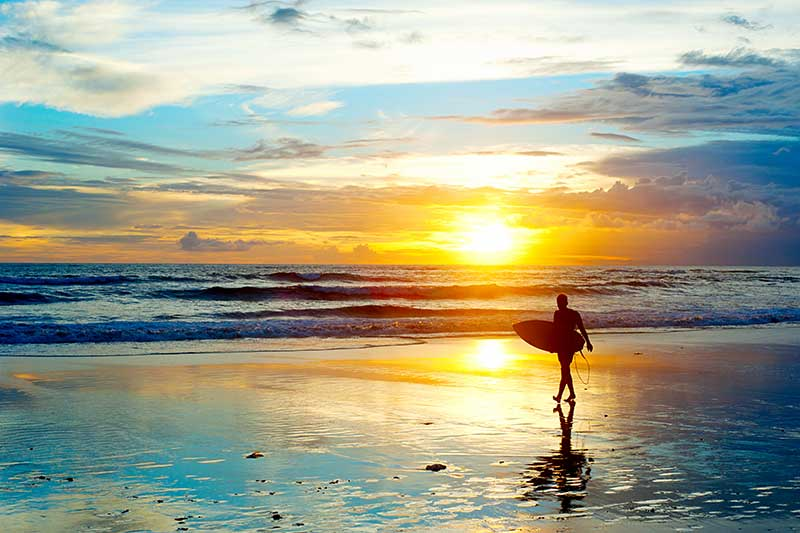Sunset - surfer in Wales